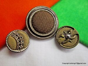 5492 A 3 Old Brass Buttons W Fabric Ome 1 Cut Steel 1 Celluloid 1 Twinkle Ome