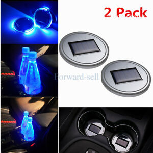 2 Pcs Solar Cup Pad Car Accessories Led Light Cover Interior Decoration Lights