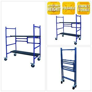 Roll Fold Scaffold Galvanized Steel Two Adjustable Height Deck Boards Non Slip