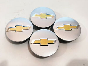 4 Factory Center Caps Chevy Bow Tie Emblem Logo Silver Finish 2 1 4