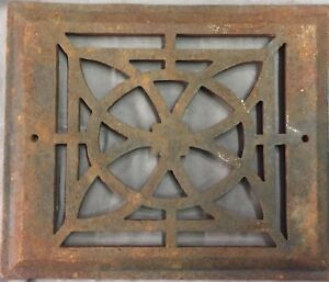 Antique Cast Iron Fireplace Grill Grate 7x9 Wall Ceiling Vent Old Vtg 27 17b