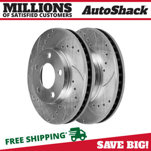 Front Drilled Slotted Performance Rotors Pair 2 For 2007 2014 Ford Edge 680544