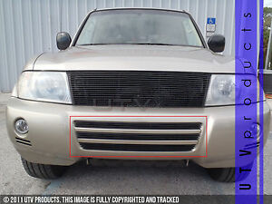 Gtg 2003 2005 Mitsubishi Montero 3pc Gloss Black Bumper Billet Grille Kit