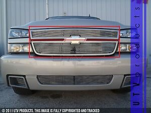 Gtg 2006 Chevy Silverado 1500 Ss 2pc Polished Upper Overlay Billet Grille Kit