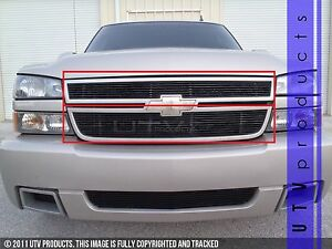 Gtg 2005 2006 Chevy Silverado 2500 3500 2pc Gloss Black Overlay Billet Grille