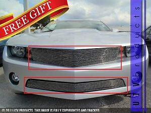 Gtg 2010 2013 Chevy Camaro V6 2pc Polished Overlay Combo Billet Grille Kit