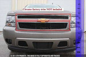 Gtg 2007 2014 Chevy Tahoe 2pc Gloss Black Upper Overlay Billet Grille Kit