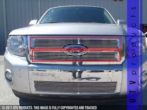 Gtg 2008 2012 Ford Escape 2pc Polished Upper Overlay Billet Grille Grill Kit