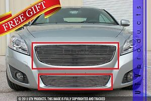 Gtg Polished 2pc Combo Billet Grille Grill Kit Fits 2011 2013 Volvo C70