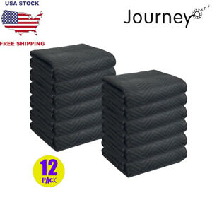 12pcs Moving Blankets Deluxe Pro 45lb dz Quilted Shipping Furniture Pads 80x72