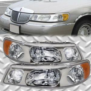 Halogen Headlights Performance Lens Set Pair Fits 98 02 Lincoln Town Car