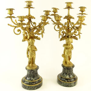 Late 19th Early20th Cen Gilt Bronze And Serpentine Marble 5 Light Candelabra