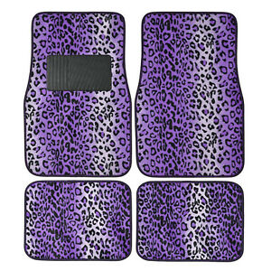 4pc Set Purple Leopard Safari Car Truck Floor Mats Carpet