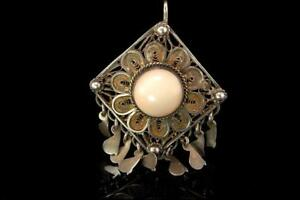 Antique Chinese Angel Skin Coral Cabochon Sterling Silver Filigree Pin Pendant