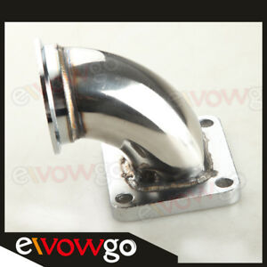 Stainless Steel 2 5 V band T4 Turbo Exhaust 90 Degree Elbow Adapter Flange