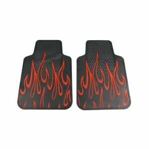 Plasticolor Floor Mats Rubber Front Seat Area Rubber Black Red Tipped Flames Pr