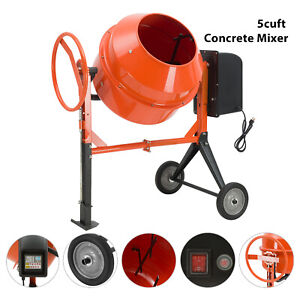 Portable 5cuft 4 5hp Electric Concrete Cement Mixer Barrow Machine Mixing Mortar