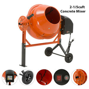 Mixing Mortar 2 1 5 Cuft Portable Electric Concrete Cement Mixer Barrow Machine