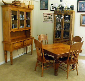 Antique Square Solid Oak Dining Table 1900 1950 4 Oak Chairs China Hutch