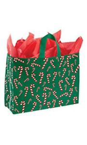 100 Plastic Frosty Bags Holiday Christmas 16 X 6 X 12 Candy Cane Frosted