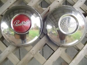 Two 49 50 Pontiac Chieftain Safari Star Chief Hubcaps Wheel Covers Center Cap