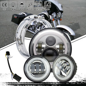Motorcycle 7 Led Headlight Passing Fog Lamp 4 Harley Electra Glide