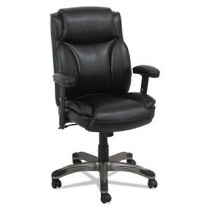 Alera Leather Mid back Manager s Chair W Spring Cushioning Black alevn5119