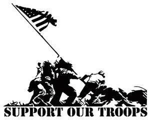 Support Our Troops Sticker Vinyl Decal Military Service Hero Patriot