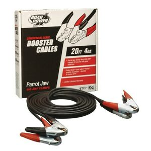 4 Gauge 20 Foot Booster Cables With Parrot Jaw Clamp Eci08760 Brand New