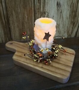 Candle Riser Board Stand Holder Cherry Handmade Rustic Farmhouse Prim