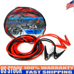 Us 2 Gauge Jumper Battery Cables Brand New 25 Ft Booster Jump Cable Aluminum