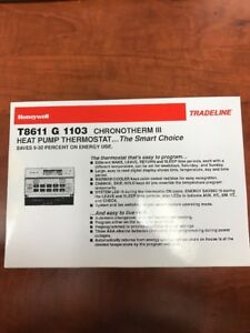 New Old Stock Honeywell T8611 G 1103 Chronotherm Iii Heat Pump Thermostat