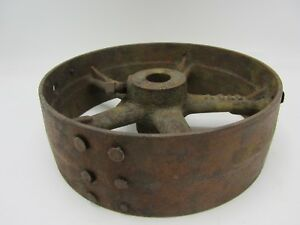 Vintage Antique Cast Iron 9 1 2 Flat Belt Pulley Line Shaft Gas Hit Miss Engine