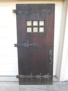 Vintage Entry Door Solid Wood With 6 Etched Glass Windows 60 90 Years Old