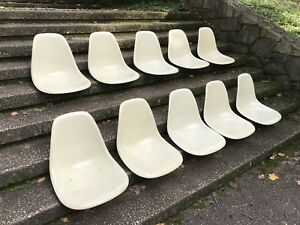 Set Of 10 Parchment Eames Herman Miller Side Shell Chair Seats Fiberglass 1960s