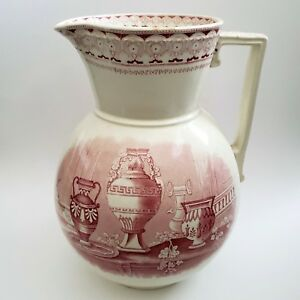 Antique Challinor Portland Large Pitcher Red Transferware Ironstone 1860 England