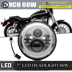 7 Motorcycle Chrome Led Bulb Projector Headlight Adapter Harness For Harley