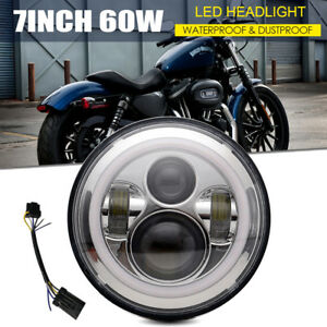 7 Inch Motorcycle Chrome Led Bulb Projector Daymaker Headlight Fit Harley