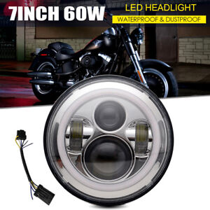 7 Motorcycle Chrome Led Bulb Projector Daymaker Headlight Adapter Fit Harley