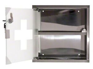 First Aid Medicine Cabinet Stainless Steel Wall Mount Lockable Glass Front Door
