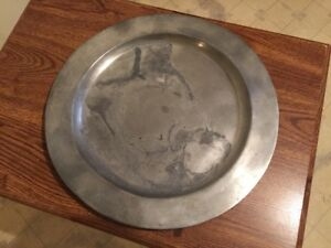 Antique 18th Century Pewter Charger Plate 13 1 4