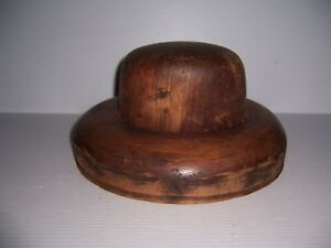 Antique Millinery Wood Hat Block Mold Brim Form 5 7 8 6 7 8