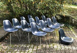 Set Of 10 Navy Blue Eames Herman Miller Side Shell Chairs Fiberglass Narrow Mt