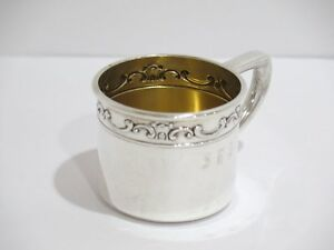2 25 In Sterling Silver Gilt Interior Gorham Antique Floral Scroll Baby Cup