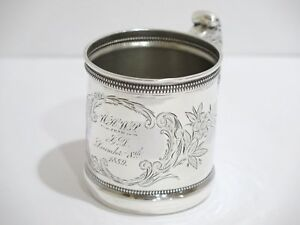 3 In Sterling Silver Gorham Antique C 1889 Floral Baby Cup