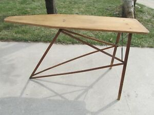 Vintage Wood Folding Ironing Board With Metal Support Rods