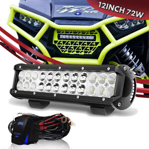 12 Inch 72w Amber white strobe Led Work Light Bar Combo Kit For Driving Lamp 10