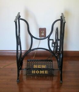 Antique 1884 New Home Treadle Sewing Machine Cast Iron Stand Base Euc