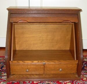Unusual Antique Desk Unit For Tabletop Or Counter Quartered Oak W Tambour 15447