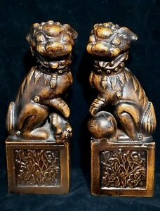 Chinese Vintage Antique Metal Foo Dog Statue Figurine One Pair Very Heavy